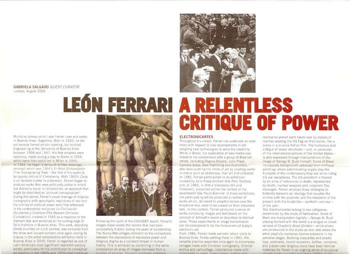 León Ferrari, A Relentless Critique of Power, University of Essex Gallery 2006